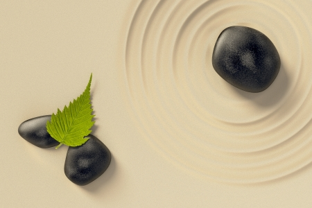 An image of a nice zen background with black stones and a leaf Stock Photo - 19606369