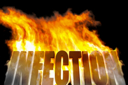 warmly: An image of a burning word infection Stock Photo
