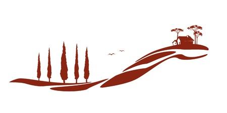 Een mooie Toscane grafisch met een huis en sommige bomen Stock Illustratie