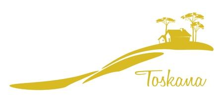 zypresse: Ein nettes Toskana Grafik mit einem Haus und einige B�ume Illustration