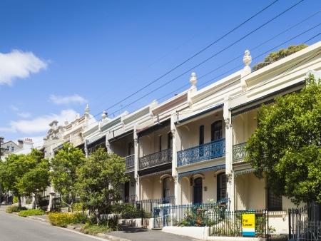 exteriores: Una imagen de las casas de la terraza agradable en Paddington Sydney Foto de archivo