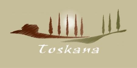 Ein nettes Toskana Grafik mit einigen Bäumen und ein Haus