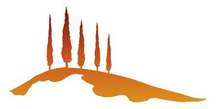 Een mooie Toscane grafisch met enkele bomen Vector Illustratie