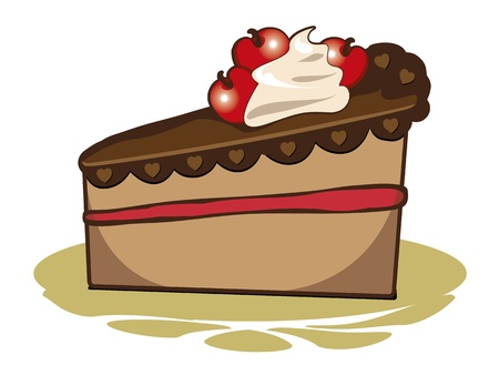 An image of a delicious cherry cake Vector