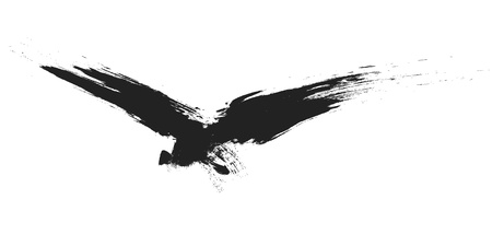 An image of a grunge black bird Vector