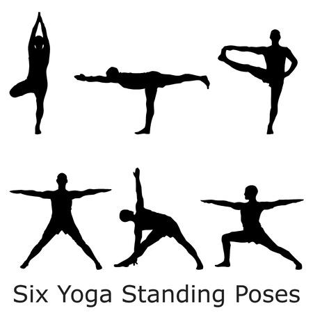 Een groep van zes yoga staande houdingen zwarte silhouetten Stock Illustratie