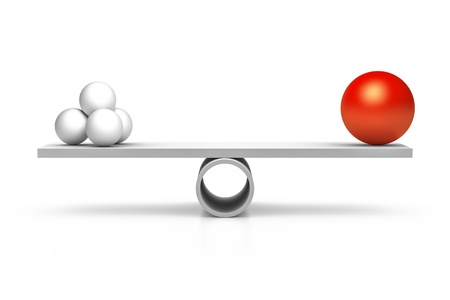 equal to: A red and four white balls at a balance Stock Photo