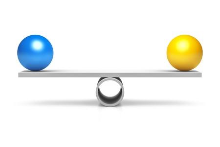 Een blauwe en gele bal op een evenwicht Stockfoto - 20670084