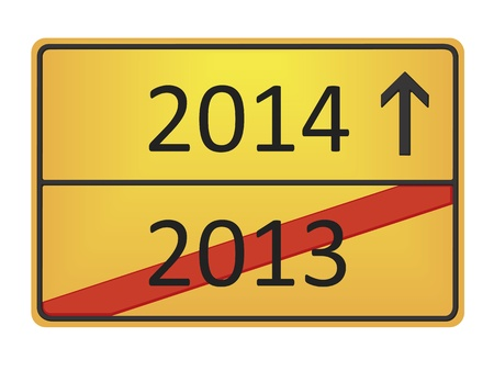 A german road sign with the numbers 2013 and 2014 photo