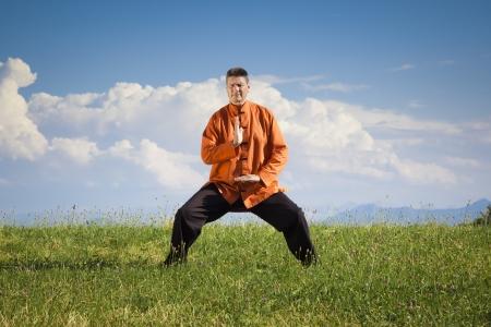 Un uomo che fa Qi-Gong nel verde della natura Archivio Fotografico - 21145563