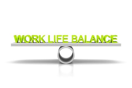 Eine Waage mit den grünen Wörter Work Life Balance Standard-Bild