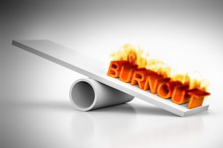 Une balance avec le mot burnout rouge Banque d'images - 21653995