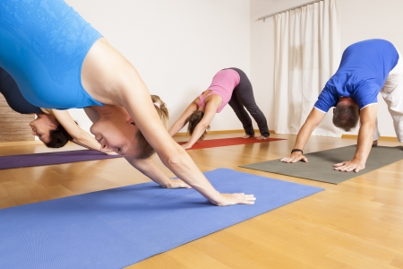 yoga class: An image of some people doing yoga exercises