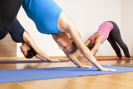 health club: An image of some people doing yoga exercises