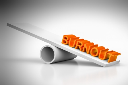burnout: A libra with the red word burnout Stock Photo