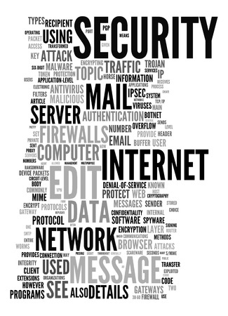 cyber defence: An image of an internet security text cloud