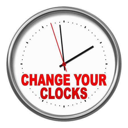 """L'immagine di un orologio con il testo """"cambiare i vostri orologi"""" Archivio Fotografico - 22725503"""
