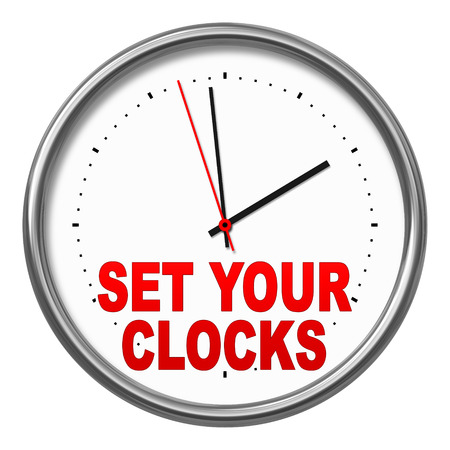 An image of a clock with the text set your clocks photo