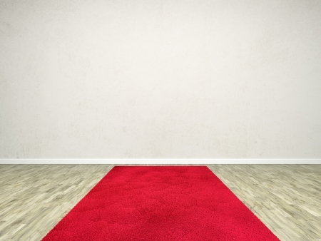 A room with a red carpet and an empty white wall