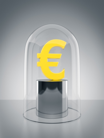 An image of an Euro sign protected under a glass dome photo