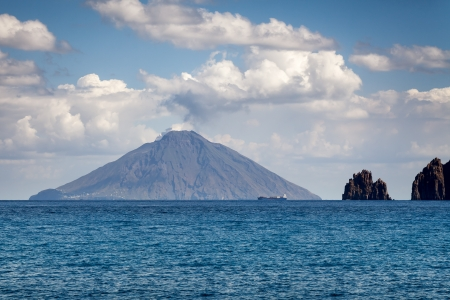 lipari: An image of the active volcano islands at Lipari Italy Stock Photo