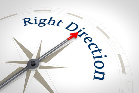 new direction: An image of a nice blue compass with the words Right Direction Stock Photo