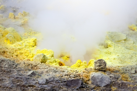 vulcano: An image of the active volcano islands at Lipari Italy Stock Photo