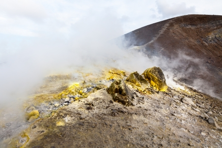 active volcano: An image of the active volcano islands at Lipari Italy Stock Photo