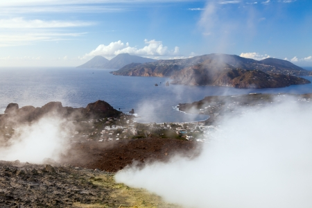 panarea: An image of the active volcano islands at Lipari Italy Stock Photo
