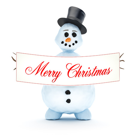 A nice snowman isolated on a white  photo