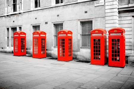 The five red phone boxes in London photo