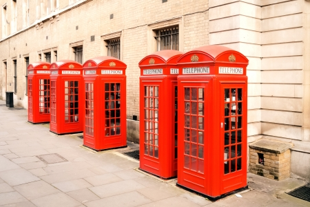 telephone box: The five red phone boxes in London Stock Photo