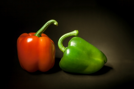 An image of a red and green paprika still life photo