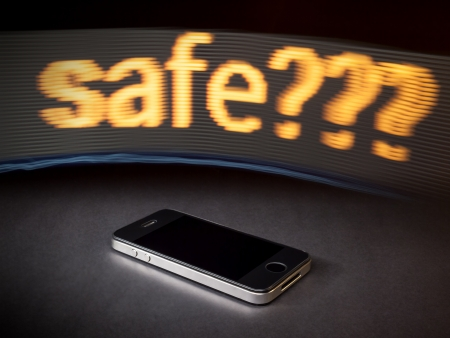 An image of a smart phone and the word safe photo
