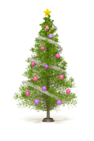 An image of a nice christmas tree isolated on white photo
