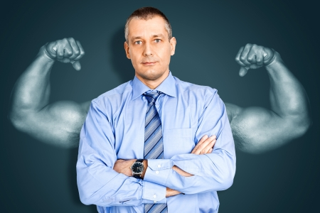 An image of a handsome business man and muscles photo