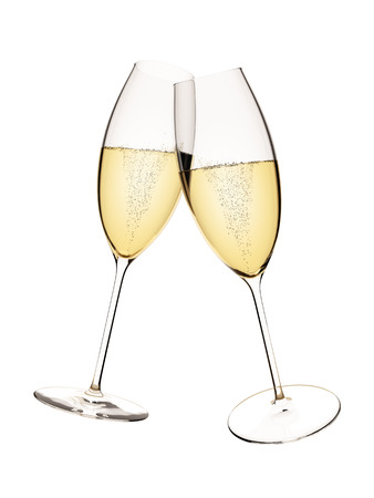 An image of two glasses of sparkling wine isolated on white Banco de Imagens
