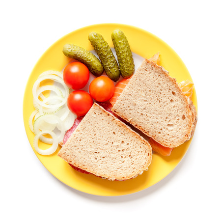 A image of bread with salami and salmon photo