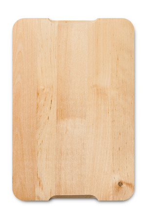 A wooden cutting board isolated on a white background with clipping-path