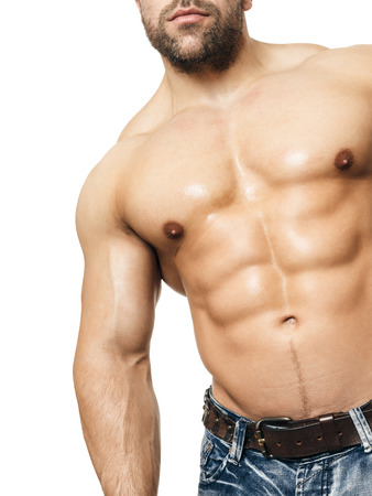 six packs: An image of a handsome young muscular sports man Stock Photo
