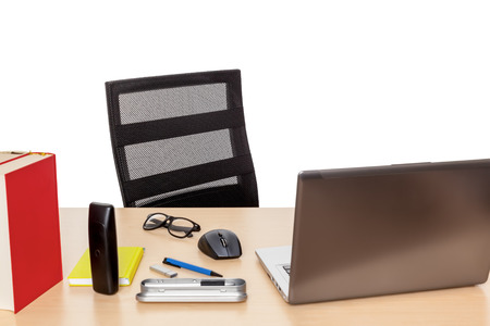 An image of a desktop with a notebook without any person photo
