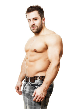 6 pack: An image of a handsome young muscular sports man Stock Photo