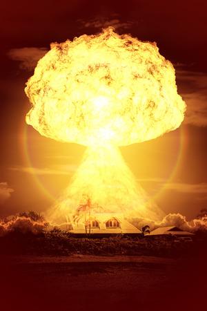 bombe atomique: Une image d'une explosion d'une bombe nucl�aire Banque d'images