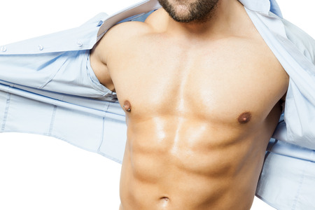 six packs: An image of a handsome young muscular sports man shirt off