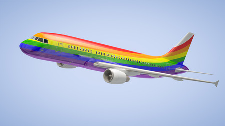 An image of a rainbow coloured Airplane