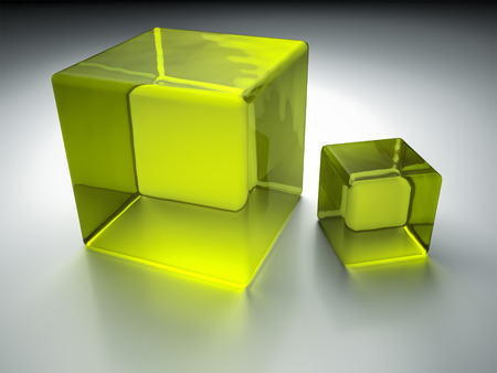An image of two nice green glass cubes photo