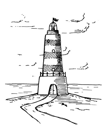 A nice and beautiful drawing of a black and white lighthouse