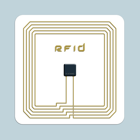 An image of an isolated electronical rfid card in front of a blue background