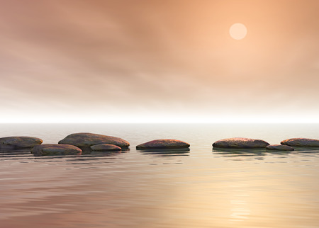 An image of a few grey step stones under a golden sky