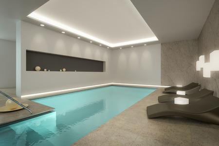 Una imagen 3D de una piscina cubierta SPA